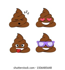 Poop emoji vector icon. Illustration of a shit icon or poop icon. Isolated objects on white background. Vector set of turd emoji