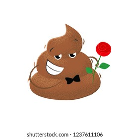 Poop gentleman with rose flower. Romance, flirt, emotion.Can be used for topics like humor, toilet, rudeness