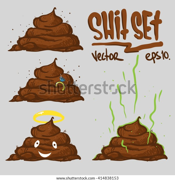 Poop On Grey Background Vector Illustration Stock Vector (Royalty
