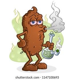 Poop Smoking Marijuana Cartoon Character