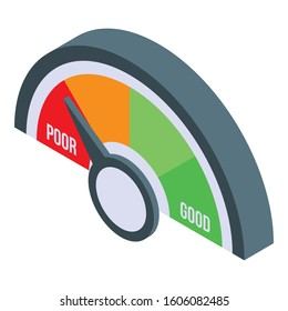 Poor credit score icon. Isometric of poor credit score vector icon for web design isolated on white background