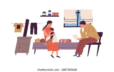 Poor family have no money to pay bills vector flat illustration. Miserable jobless father holding receipt worrying about payment isolated. Unemployment and financial problem, crisis or bankruptcy