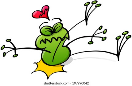 Poor green frog making a painful gesture when falling down and violently hitting its bottom against the ground while showing a sorrow of love by a broken heart floating above its head