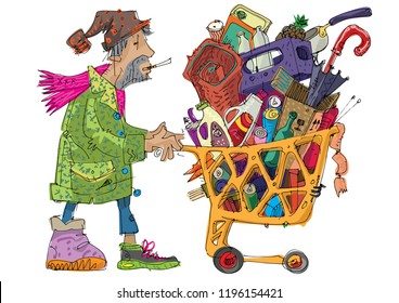 A poor homeless guy with old supermarket cart full of trash and all kind of stuff. Caricature. Cartoon