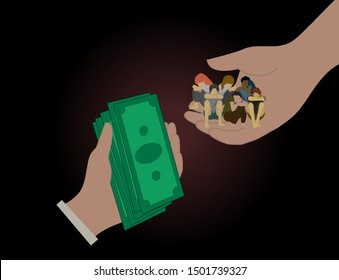 Poor little children are victims of human trafficking-vector illustration