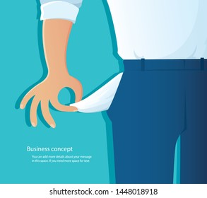 poor man showing his empty pockets on blue background vector illustration EPS10