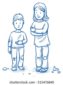 Poor orphans or refugee children, girl and boy, looking sad, hoping or begging for food or warm clothing. Hand drawn cartoon doodle vector illustration.