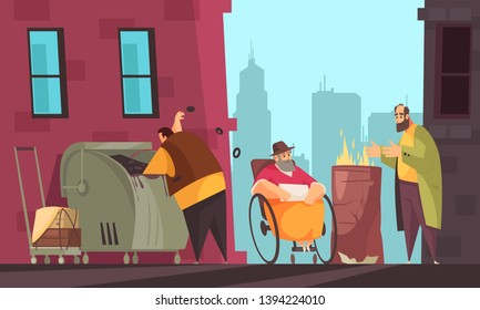 Poor people surviving winter on city streets searching for food in garbage can flat banner vector illustration