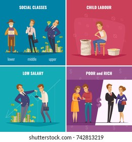 Poor and rich 2x2 design concept with social classes low salary child labour flat square icons cartoon vector illustration