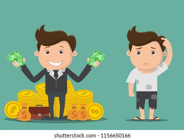Poor and rich man.Vector illustration.