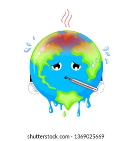 Poorly globe character with thermometer. Cartoon earth, global warming concept. illustration isolated on white background.