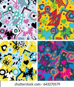 Pop art abstract seamless pattern. Fashion trendy design background