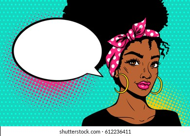 Pop art afro american female face. Sexy young black woman with afro hairstyle in big earrings and empty speech bubble on dots background. Vector bright illustration in pop art retro comic style.