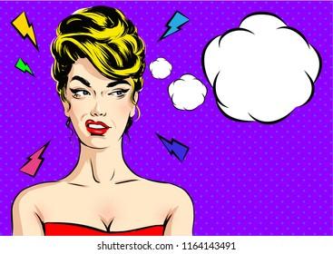 Pop art Angry Woman