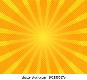 Pop art background. Comic pattern with starburst and halftone. Cartoon retro sunburst effect with dots. Yellow banner. Vintage sunshine texture. Vector illustration.