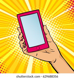 Pop art background with female hand holding a smart phone with empty screen for your offer . Vector colorful hand drawn illustration in retro comic style.