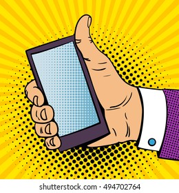 Pop art background with male hand with thumb up holding a smartphone with empty screen for your offer . Vector colorful hand drawn illustration in retro comic style.