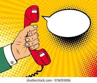 Pop art background with male hand holding old phone handset and empty speech bubble for your offer. Vector colorful hand drawn illustration in retro comic style.