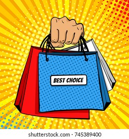 Pop art background with male hand holding shopping bags with Best Choice lettering . Vector colorful hand drawn illustration in retro comic style. Sale poster template.