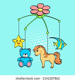 Pop art background. A musical toy over a cradle for a child. The subjects are horse, flower, star, bear and fish. vector illustration