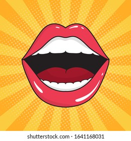 Pop art background with open mouth. Red lips of girl retro style for comic book. Female open mouth with teeth. Seductive romantic composition. Popart cosmetic symbol. Cartoon vector illustration