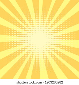 Pop art background, orange. rays of the sun are yellow and circles. Retro style, comic emulation. Procurement for a magazine, a poster or a newspaper. Vector illustration