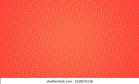 Pop art background orange and red color dot haltone retro style vector illustation full hd