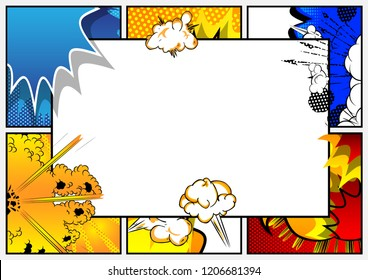 Pop Art background with place for text. Comic book frame. Cartoon retro vector illustration drawing for advertising.