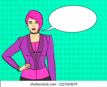 Pop art background. Young Punk subculture, rockers. Imitation comic stich. Vector illustration text bubble