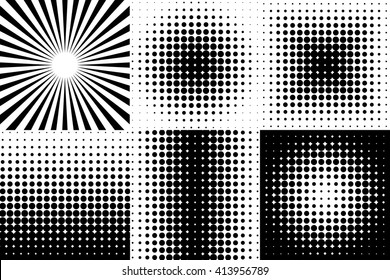 Pop Art black decorative elements isolated on white background. Abstract halftone effect vector elements. Dotted pattern