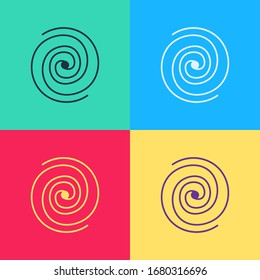 Pop art Black hole icon isolated on color background. Space hole. Collapsar.  Vector Illustration