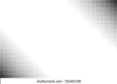 Pop art black and white  half tone dots background
