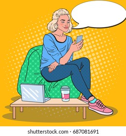 Pop Art Blonde Woman Working with Laptop and Smartphone in a Coffee Shop. Vector illustration