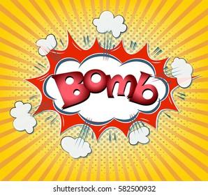 pop art bomb comic icon over orange rays background raster gardient vector illustration