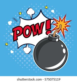 pop art bomb pow with bubble speech design