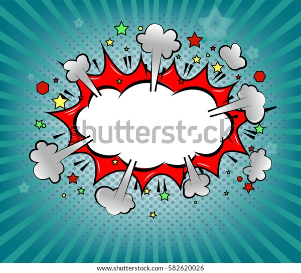 pop art boom comic icon over blue rays background raster gardient vector illustration
