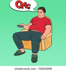 Pop Art Bored Fat Man Watching TV with Remote Controller. Unhealthy Food. Vector illustration
