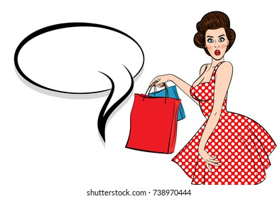 Pop art brunette woman vintage customer. Shop black friday sale. Sexy popart young attractive pinup girl hold bag. Retro wow surprised face open mouth. Speech bubble,empty comic text box Female breast