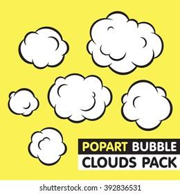 Pop art bubble clouds vector pack