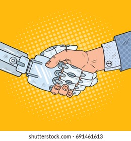 Pop Art Business Robot and Human Handshake. Intelligence Technology. Vector illustration