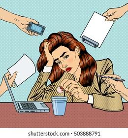 Pop Art Business Woman Drinking Pills at Multi Tasking Office Work. Vector illustration