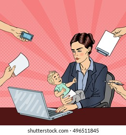 Pop Art Business Woman with Laptop Holding Newborn Baby at Multi Tasking Office Work. Vector illustration