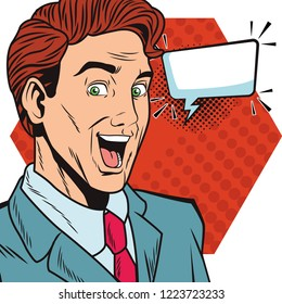 pop art businessman cartoon with speech bubble