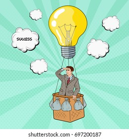 Pop Art Businessman Flying in Hot Air Balloon in Searching of Success. Vector illustration
