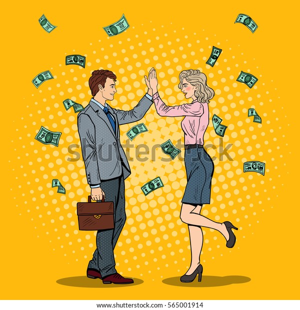 Pop Art Businessman Giving High Five to Business Woman. Money Falling Down. Vector illustration