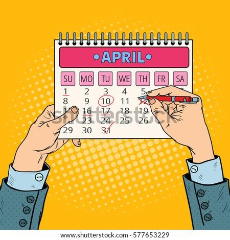 pop art businessman hand planning calendar のベクター画像素材