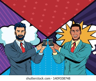 Pop art businessmen presentation comic book background holding and showing smarthphone tech vector illustration graphic design