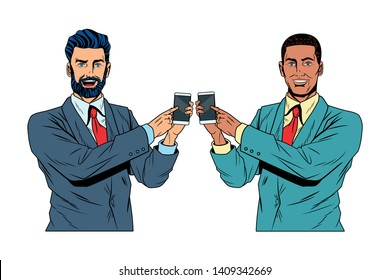 Pop art businessmen presentation holding and showing smarthphone tech vector illustration graphic design