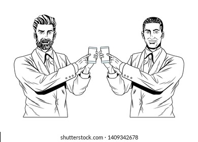 Pop art businessmen presentation holding and showing smarthphone tech black and white vector illustration graphic design