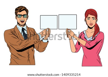 Pop Art Bussiness Group Presentation Holding Stock Vector